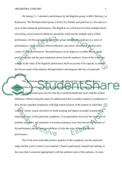 Live Proformence essay example