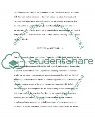 Marketing library & information services essay example