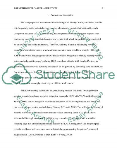 Breakthrough career aspiration essay example