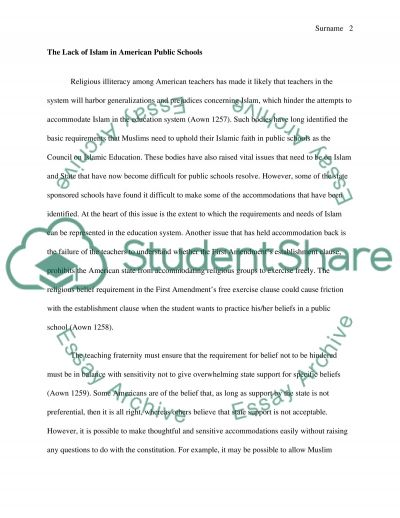 Explicative Style Paper on The Lack of Islam in American Public Schools and the Struggle of Muslims to gain their own American