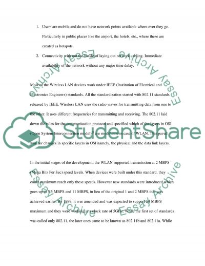Wireless LAN Technology and its construction essay example