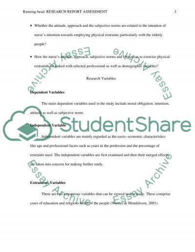 Research Report Assessment essay example