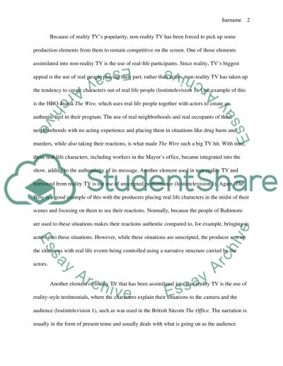 Reality Internet Assignment essay example