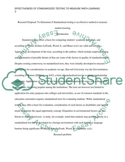 Proposal to determine if standardized testing is an effective method to measure student learning
