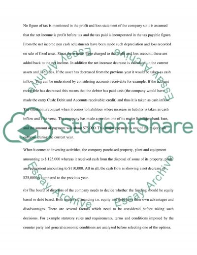 Cash flow statement and report essay example