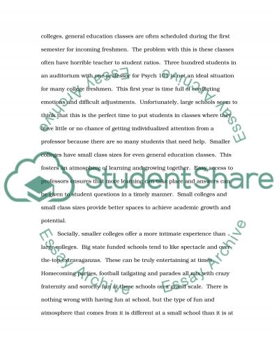 Compare and Contrast a Big College Campus to a Small College Campus essay example