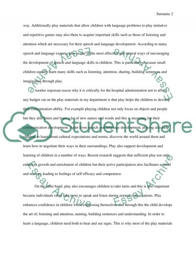 Importance of play in the speech and language therapy essay example