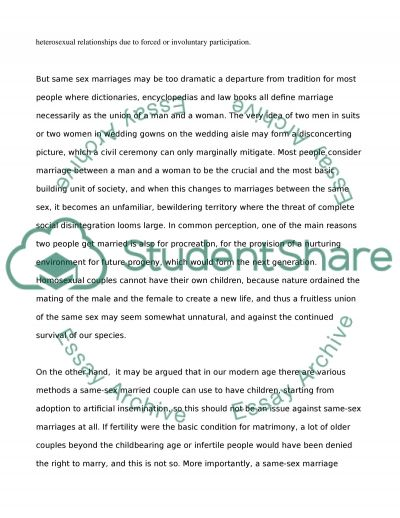 Same Sex Marriage. Essay example