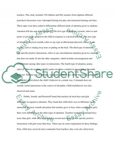 Gender Differences in Preschool essay example