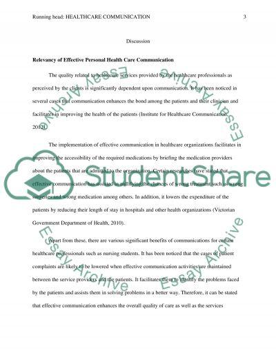 Essay on Healthcare Communication