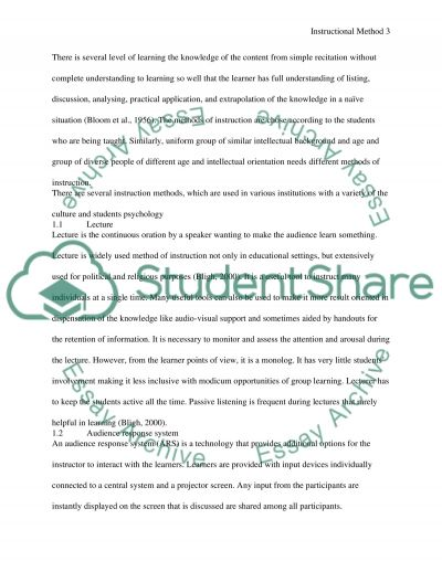 Instructional method and comprehension essay example
