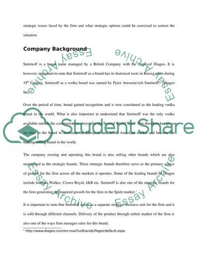 Strategic Management for Smirnoff