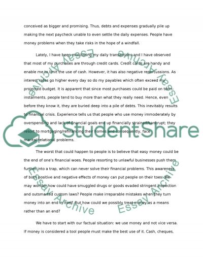 The Use of Money Essay example
