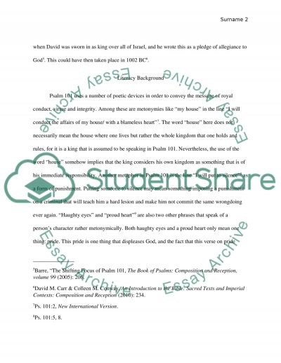 Case Study on Psalm 101 essay example