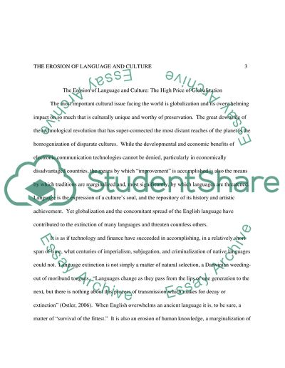 The Erosion Of Language And Culture Essay Example  Topics And Well  The Erosion Of Language And Culture