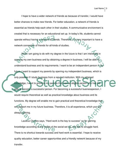 Reasons for Transferring and Objectives