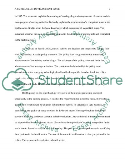 A Curriculum Development Issue essay example