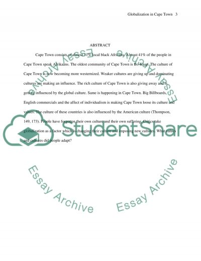 The process of globalization and culture in Cape Town essay example