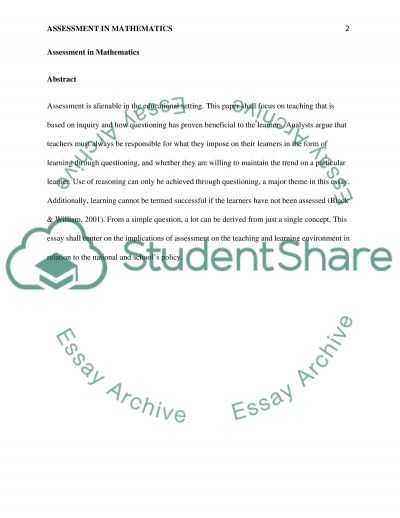 Assessment in Mathematics essay example
