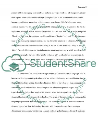 Relationship between Instant Texting and Language Decline Essay example