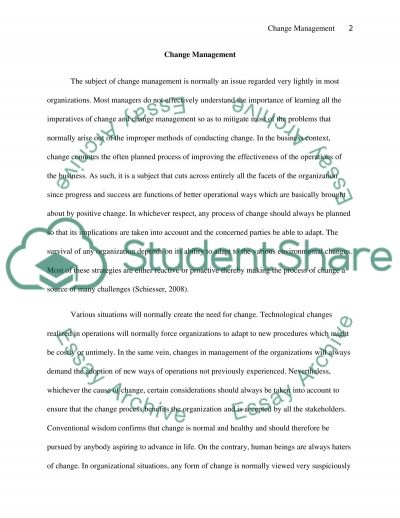 Change Management essay example