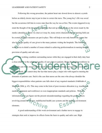 Leadership and patient safety essay example