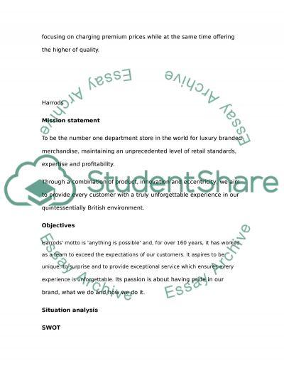 Marketing plan (Harrods) essay example