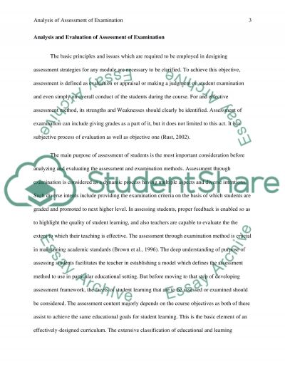 A Critical Analysis of Examination in Assessing Psychology Students at University essay example