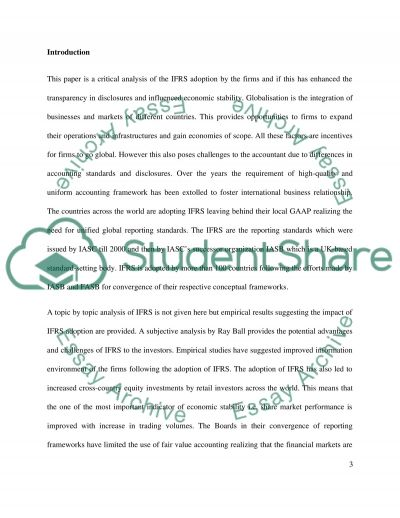 How the Use of IFRSs Contributes to Increased Transparency for Stakeholders essay example