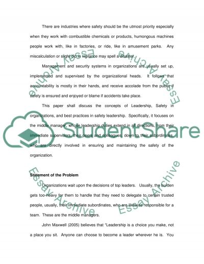 Safety Leadership: Why the supersvisors role is key in in achieving safety objectives and sucess though safety leadership approach essay example