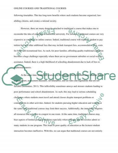 Online courses and traditional courses essay example