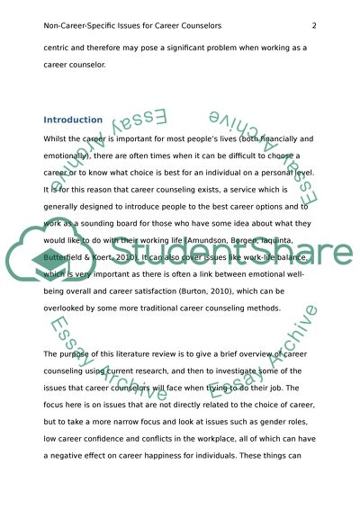 how to write a report on career counselling