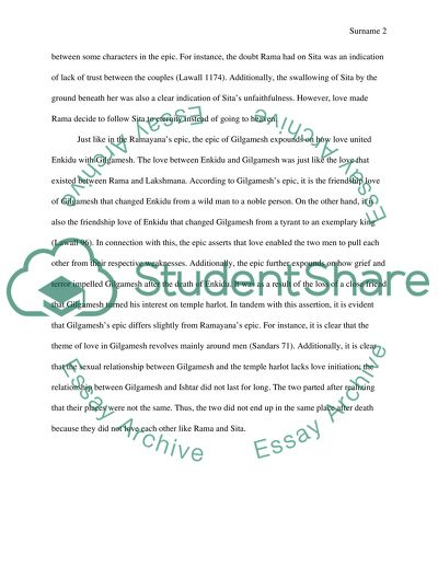 Essay On My Mother In English Comparing Themes In Gilgamesh And Ramayana Narrative Essay Example High School also Compare And Contrast Essay High School And College Comparing Themes In Gilgamesh And Ramayana Essay Science Essays