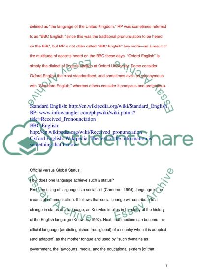 Development of English as a Global Language