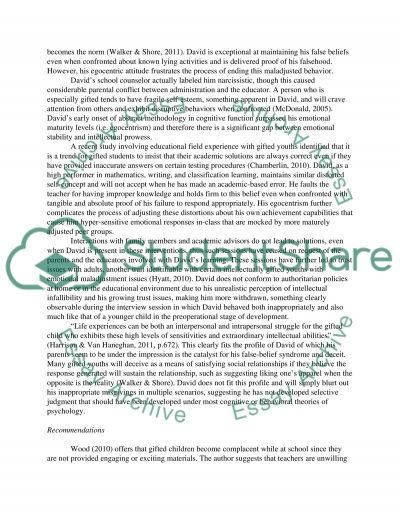 Case Stdy - David: A Child with Exceptional Intelligence Abilities essay example