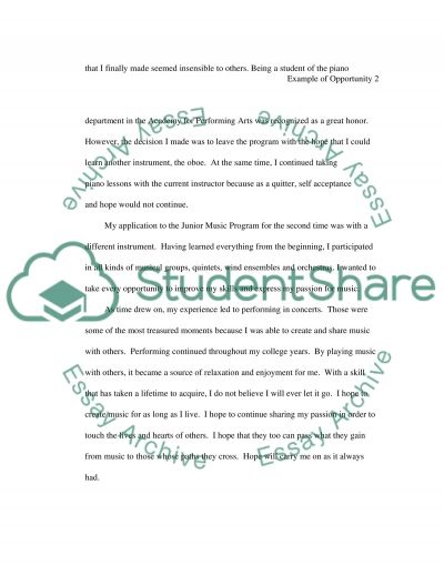 Example of Opportunity Essay example