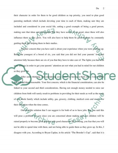 Dialectical Argument : What is the right family size, 2 or more kids essay example