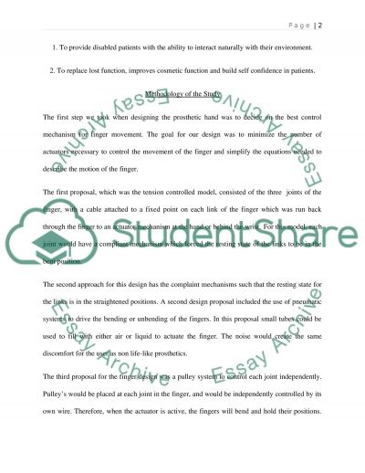 Development a brain controlled prosthetic hand essay example