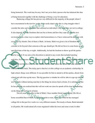 Overcoming College Student Homesickness Free Essay Example
