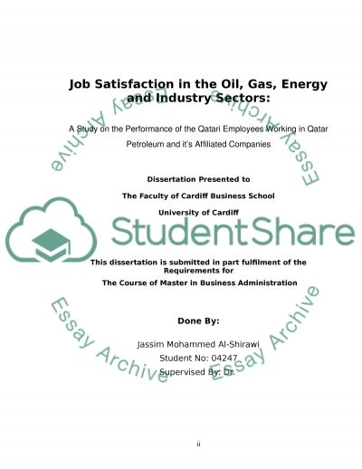 Job Satisfaction in the Oil, Gas, Energy and Industry Sectors essay example