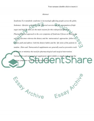 Syndrome X essay example