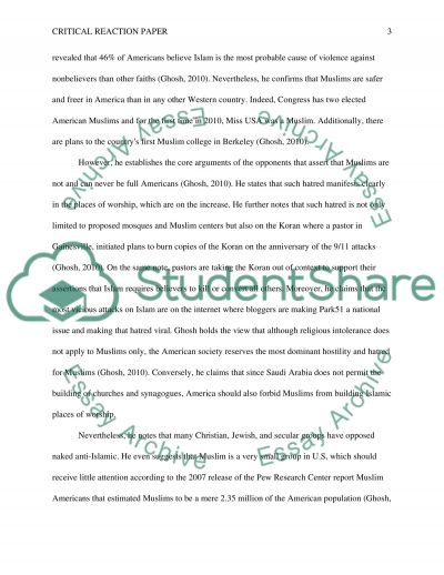 Critical Reaction Paper essay example
