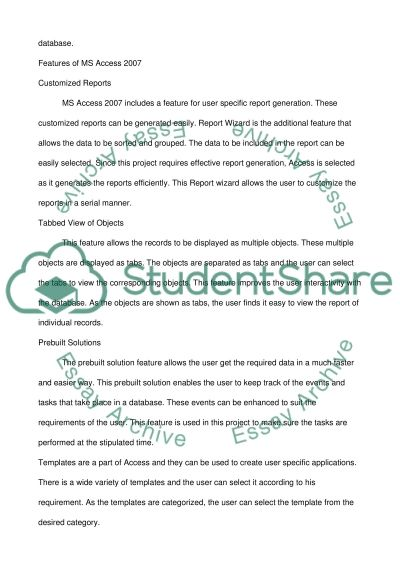 MS-Access and Net framework essay example