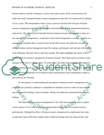 Review of Academic Journal Articles on Management essay example