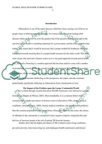 Global health paper - Tuberculosis essay example