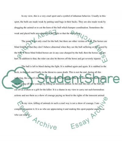 Bullfighting essay example