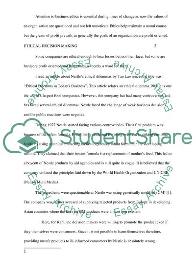 example of reflection paper about business