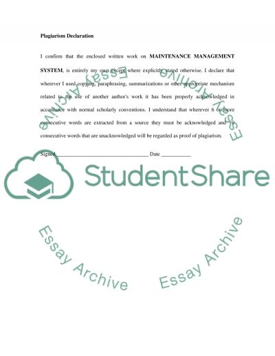 Maintenance Management System essay example