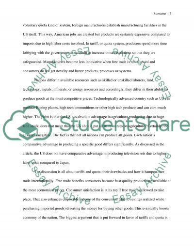 Summarizing Article essay example