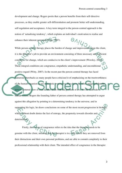 Person- Centred counselling essay example